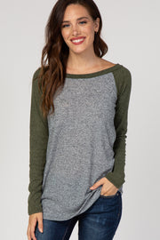 Olive Green Colorblock Baseball Knit Top