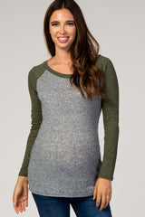 Olive Green Colorblock Baseball Knit Maternity Top