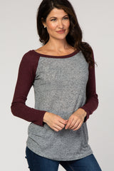 Burgundy Grey Colorblock Baseball Knit Top