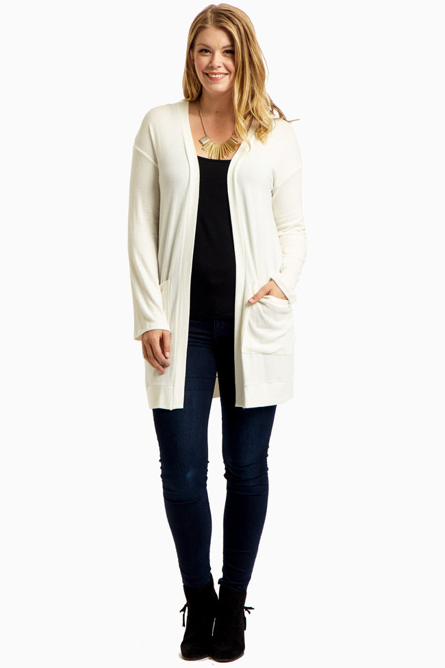White Soft Knit Draped Pocket Plus Size Cardigan