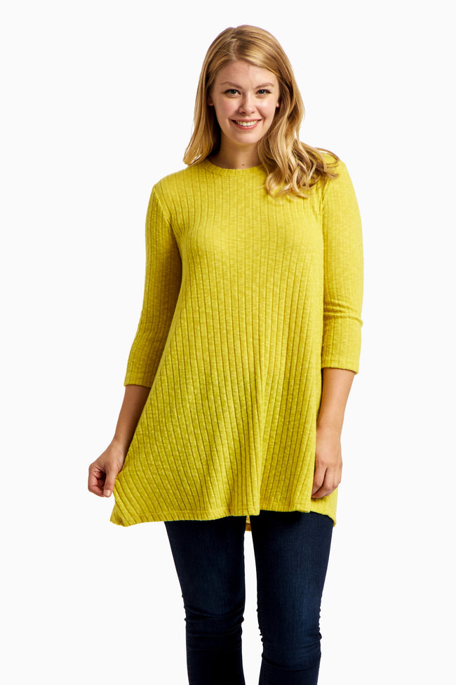 Yellow Soft Knit Plus Size Tunic