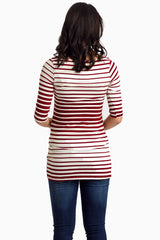 Burgundy Alternating Striped Fitted Maternity Top