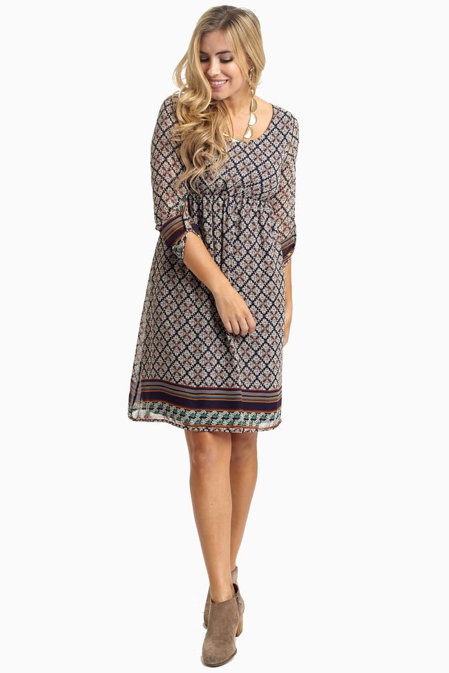 Navy Damask Striped Border Chiffon Materntity Dress