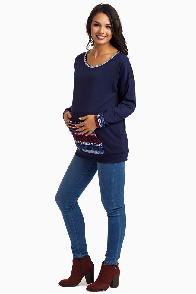 Navy Tribal Front Pocket Maternity Top