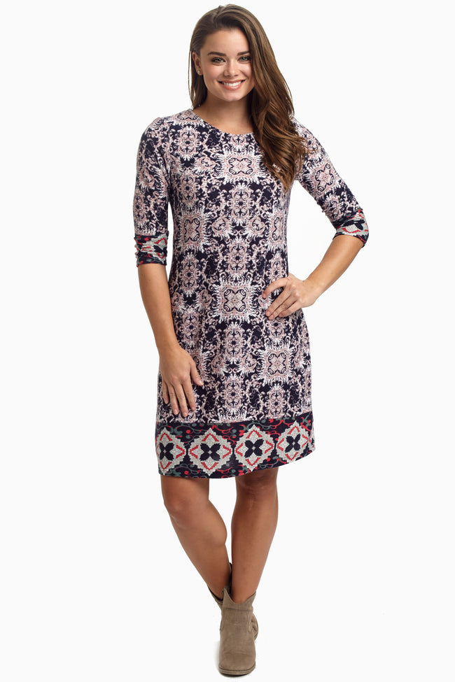 Navy Printed Knit 3/4 Sleeve Maternity Dress