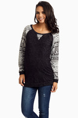 Black Tribal Sleeve Knit Maternity Top