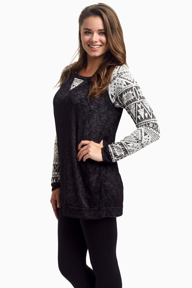 Black Tribal Sleeve Knit Top