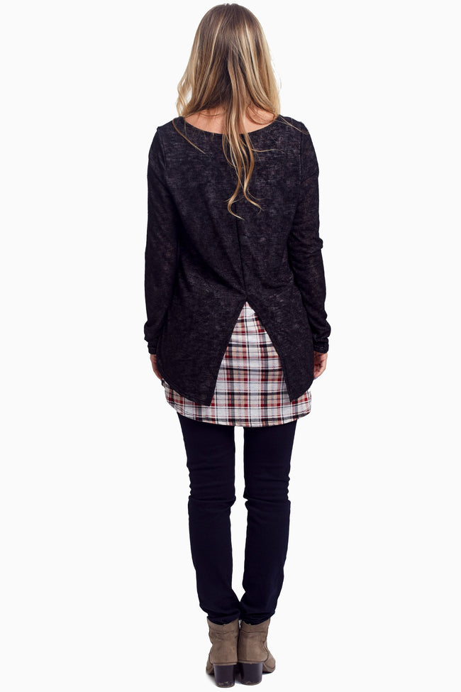 Black Plaid Layered Knit Maternity Top