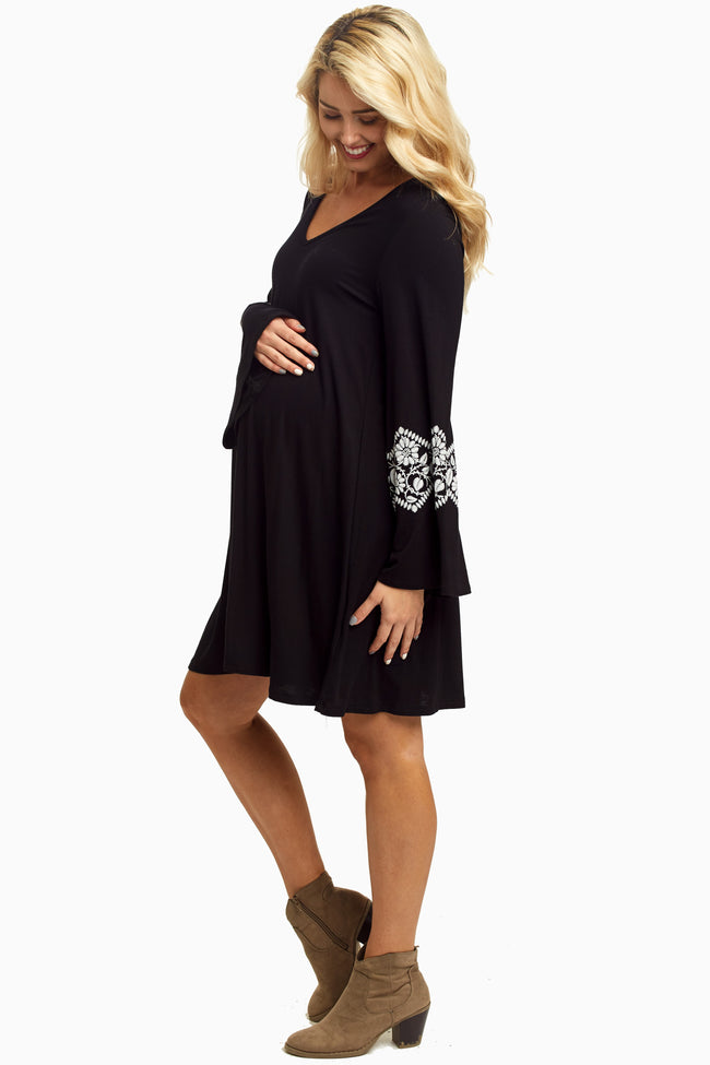 Black White Floral Accent Bell Sleeve Maternity Dress