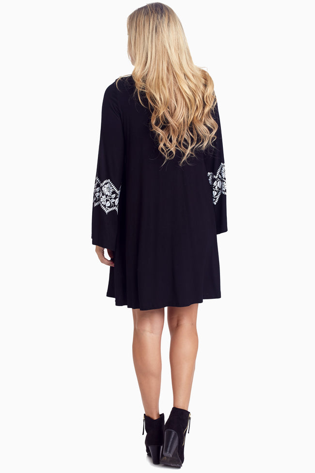 Black White Floral Accent Bell Sleeve Dress