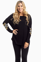 Black Sequin Chevron Elbow Maternity Top