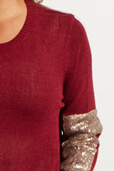 Burgundy Sequin Accent Sleeve Knit Sweater