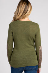 Olive Sequin Accent Sleeve Knit Maternity Sweater