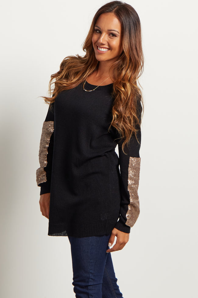 Black Sequin Accent Sleeve Knit Maternity Sweater
