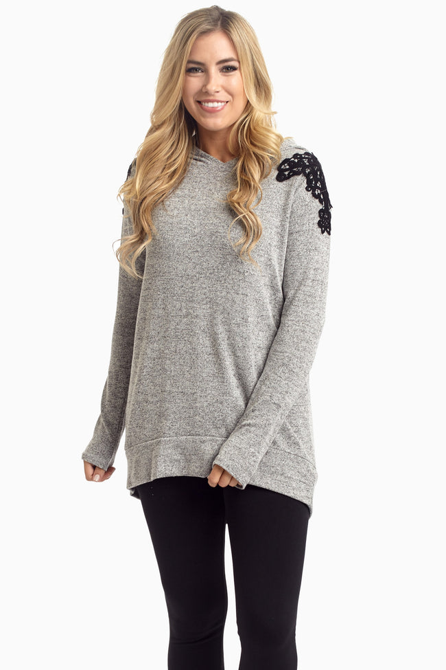 Grey Crochet Shoulder Hooded Maternity Top