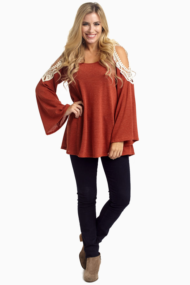 Rust Open Crochet Shoulder Maternity Top