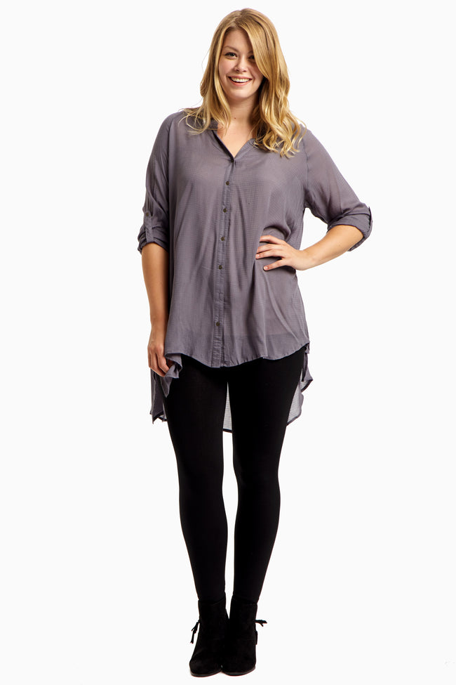 Grey Button Up 3/4 Sleeve Plus Top