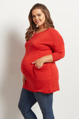 Rust Button Back Plus Maternity Top