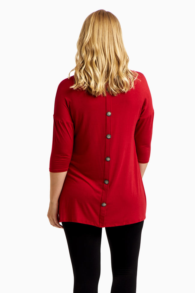 Red Button Back Plus Size Top