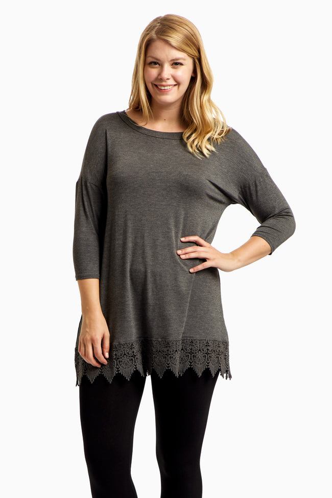Charcoal Crochet Hem 3/4 Sleeve Plus Size Top