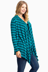 Teal Striped Button Back Plus Size Cardigan