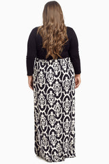 Black Damask Bottom Plus Size Maxi Dress