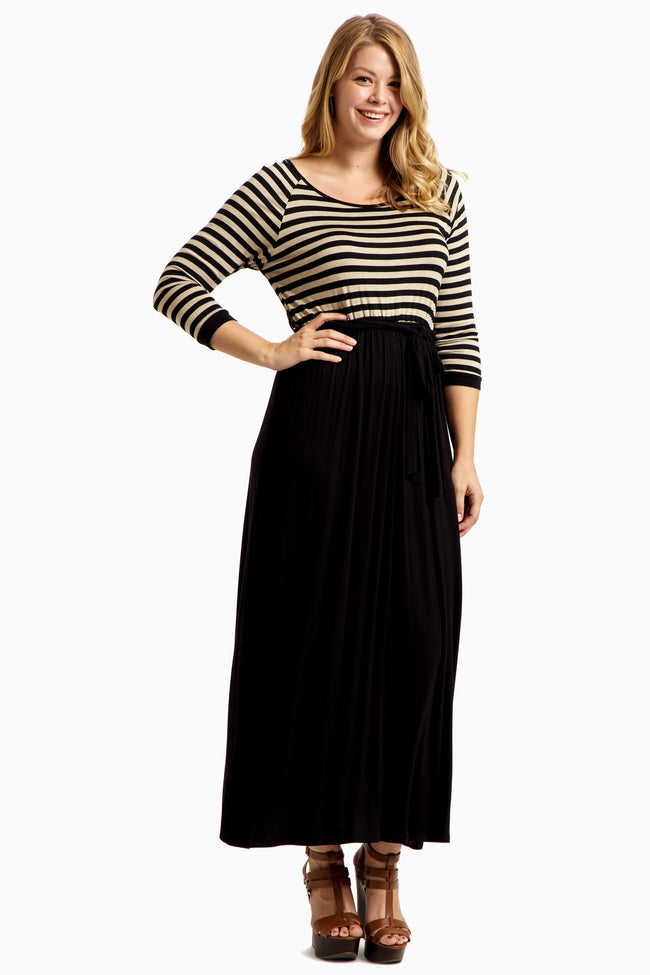 Beige Heathered Striped Top Plus Size Maxi Dress