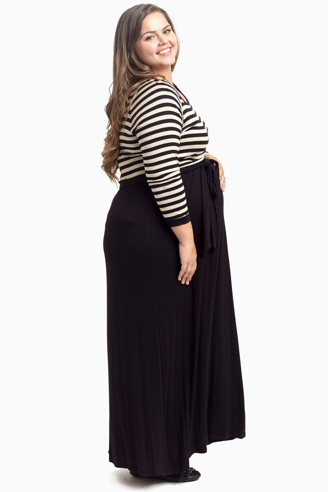 Beige Heathered Striped Top Plus Size Maternity Maxi Dress