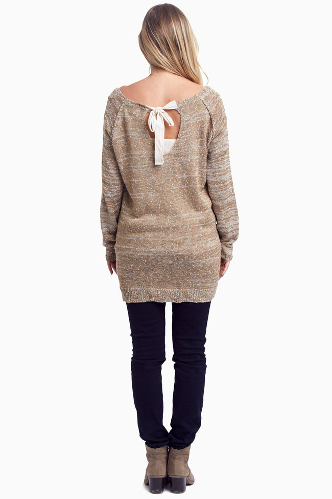 Mocha Knit Tie Back Maternity Sweater