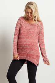 Dark Pink Knit Tie Back Maternity Sweater