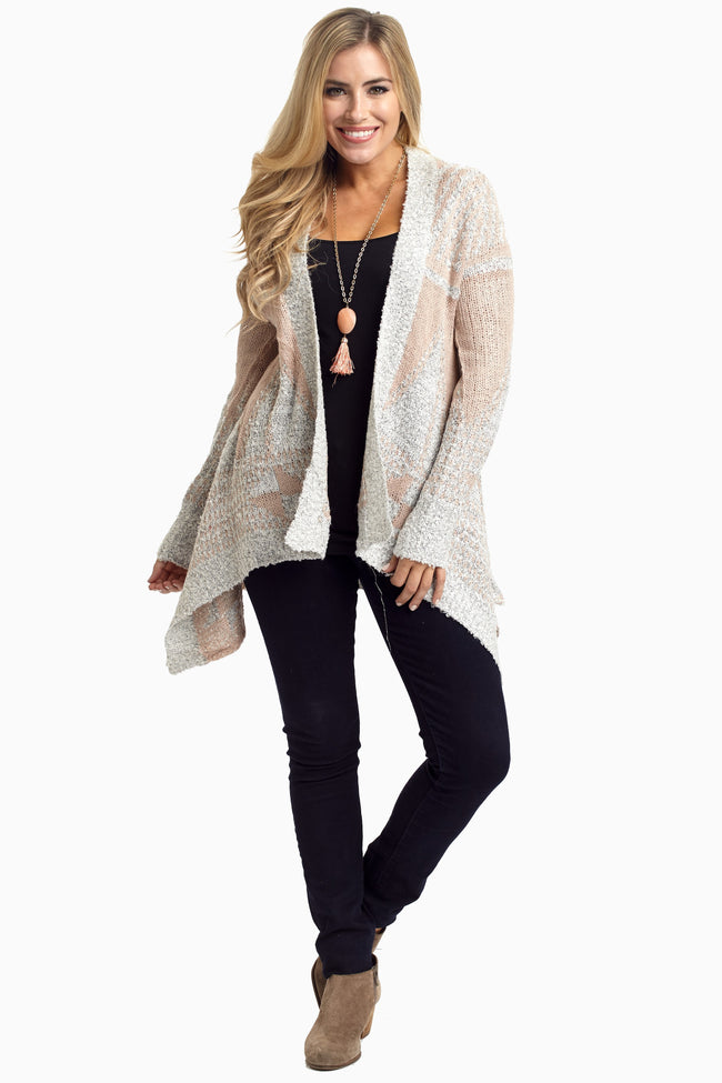 Light Pink Grey Knit Open Maternity Cardigan