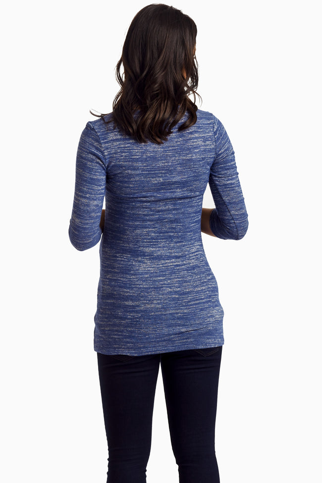 Blue Tribal Pocket Knit Maternity Top