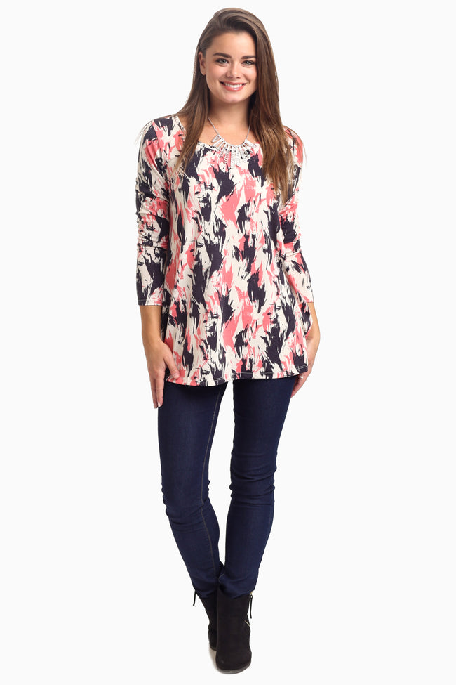 Pink Navy Abstract Long Sleeve Maternity Top