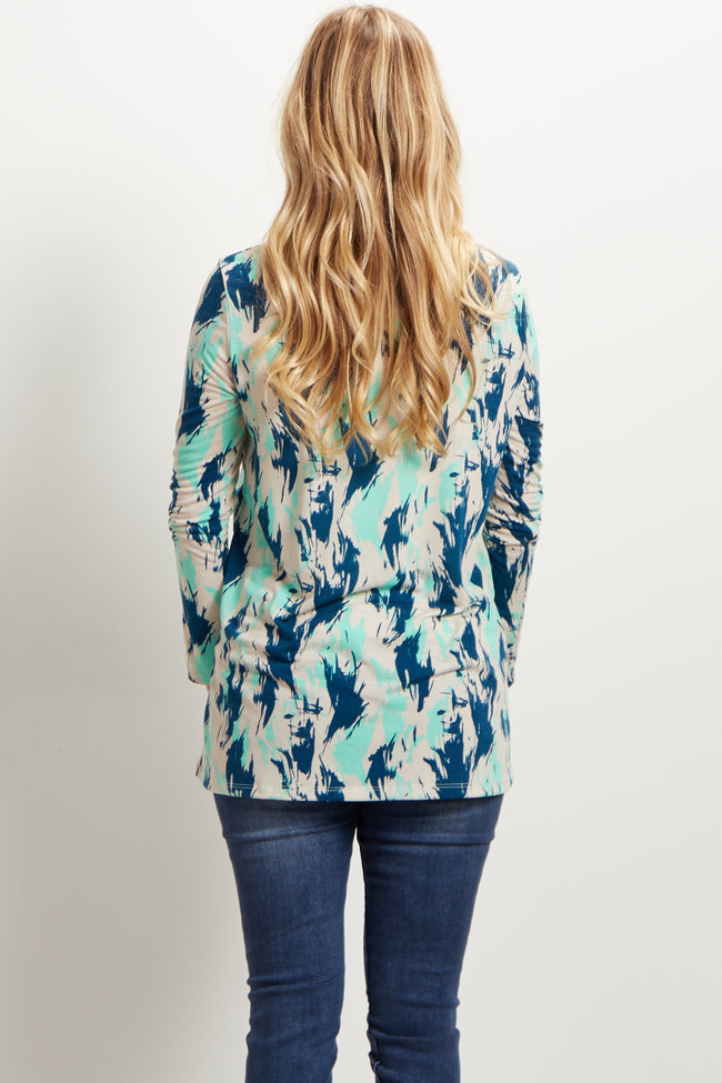 Mint Navy Abstract Long Sleeve Maternity Top
