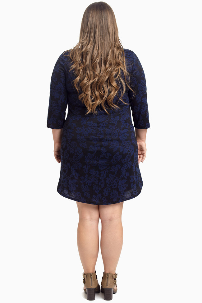Navy Blue Damask 3/4 Sleeve Maternity Plus Dress