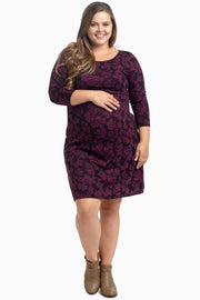 Purple Damask 3/4 Sleeve Maternity Plus Dress