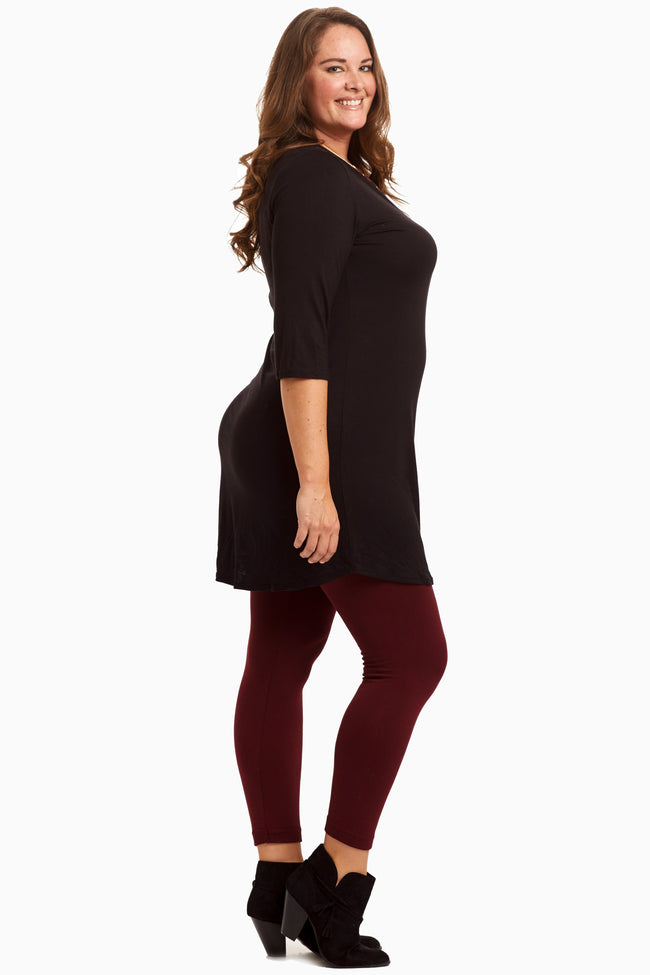 Black 3/4 Sleeve Plus Dress/Tunic