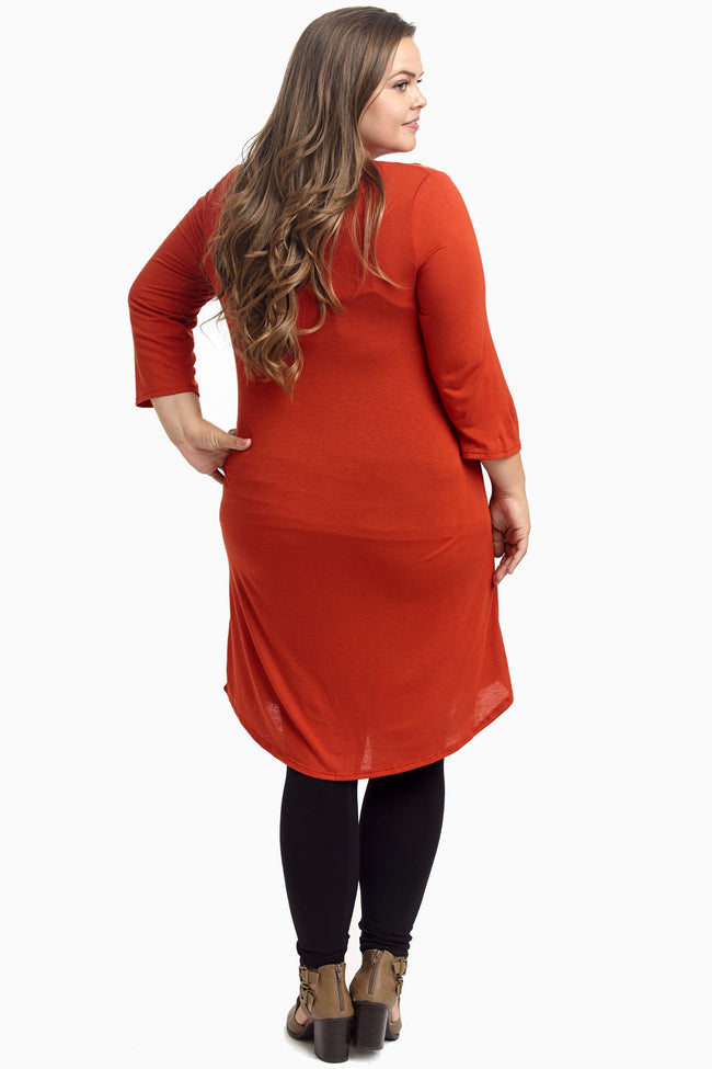 Rust 3/4 Sleeve Plus Size Maternity Dress/Tunic