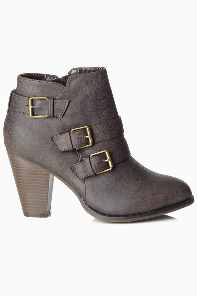 Brown Buckle Strapped Bootie
