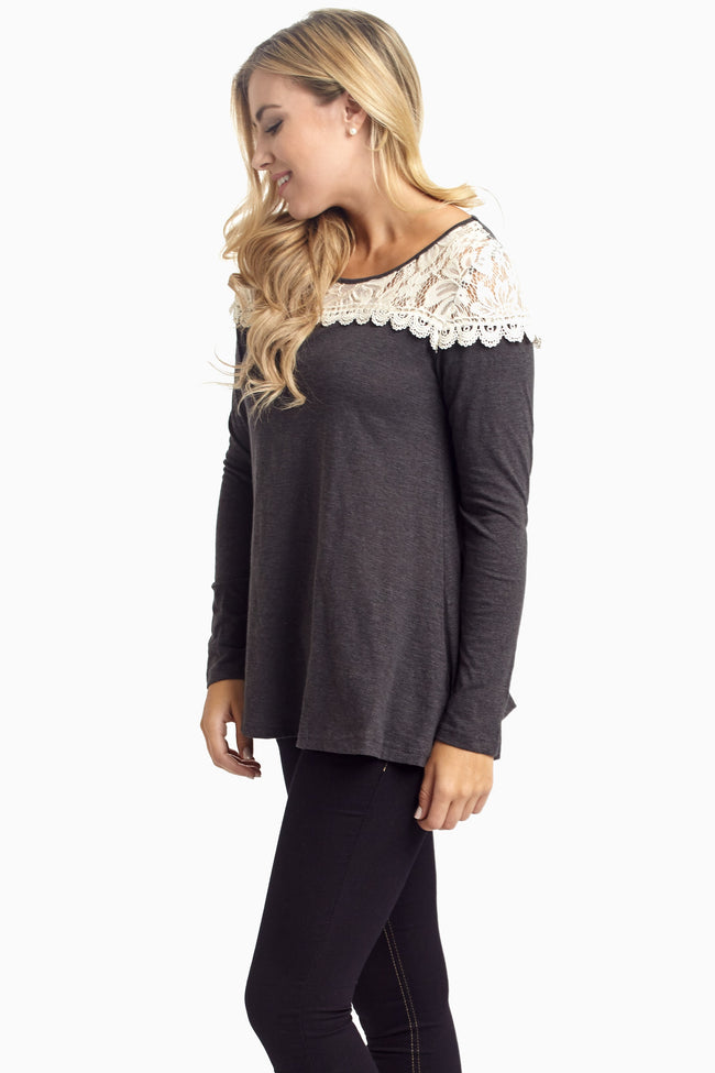Charcoal Lace Neck Top
