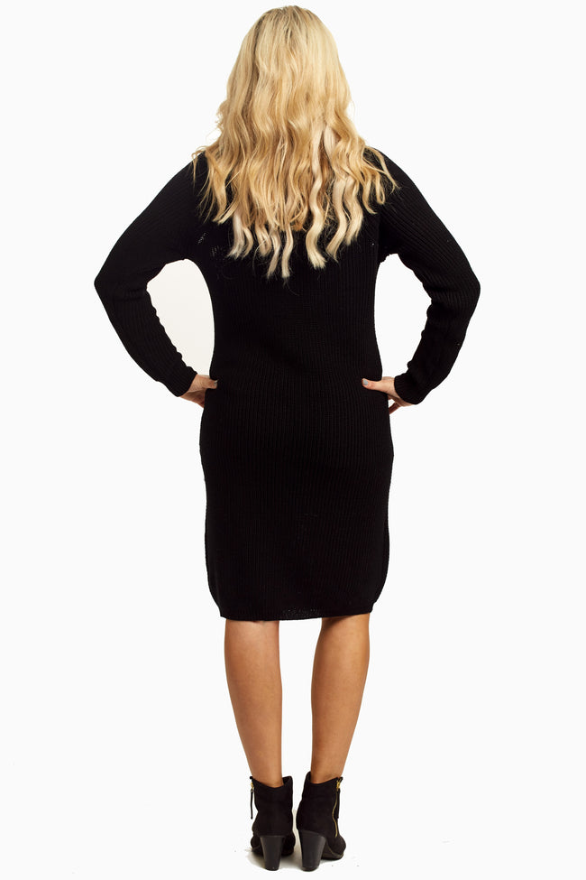Black Braided Accent Maternity Sweater Dress