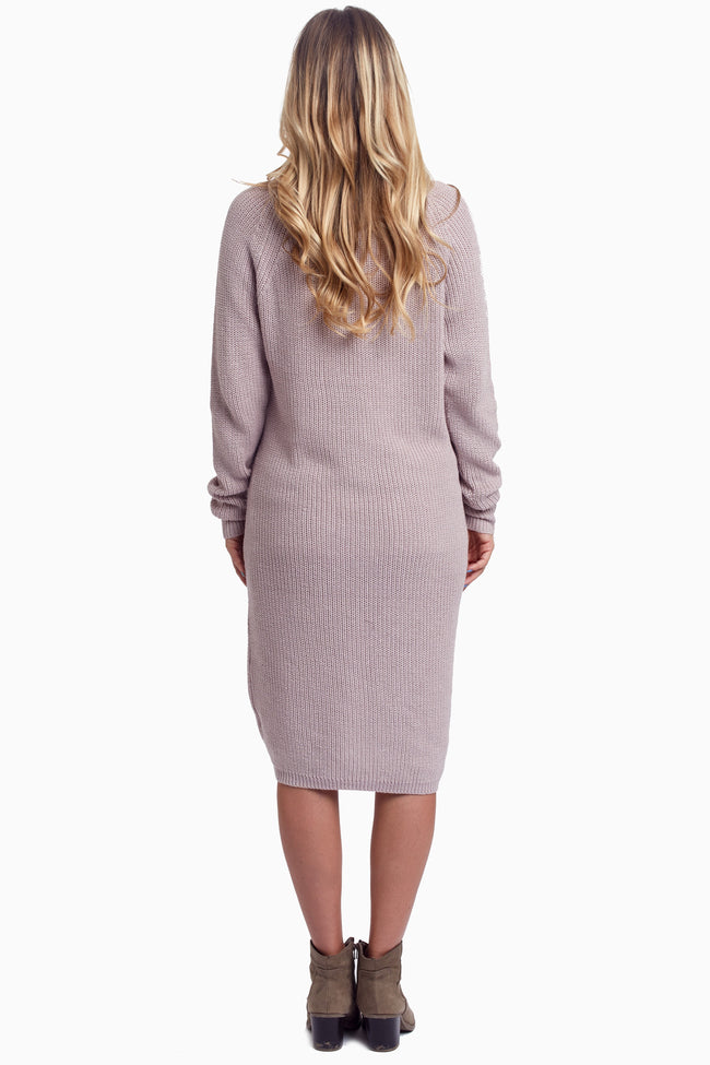 Taupe Braided Accent Maternity Sweater Dress