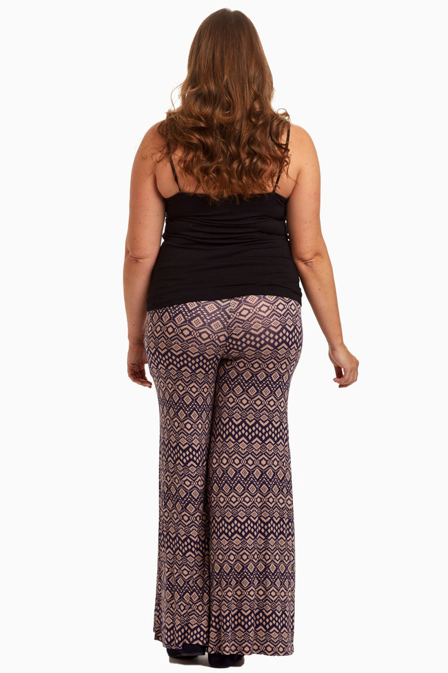 Pink Navy Tribal Plus Maternity Palazzo Pants