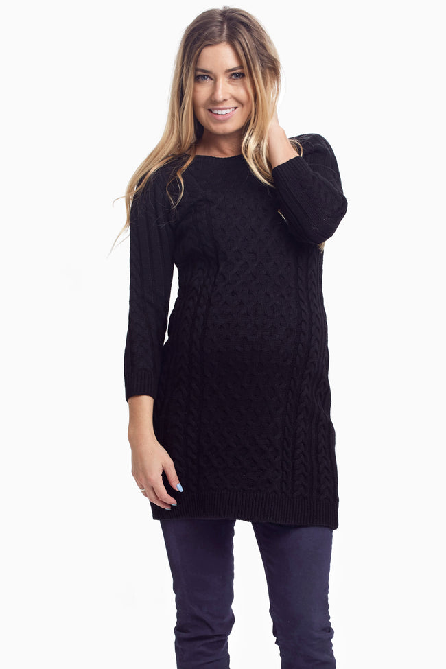 Black Cable Knit Fitted Maternity Tunic