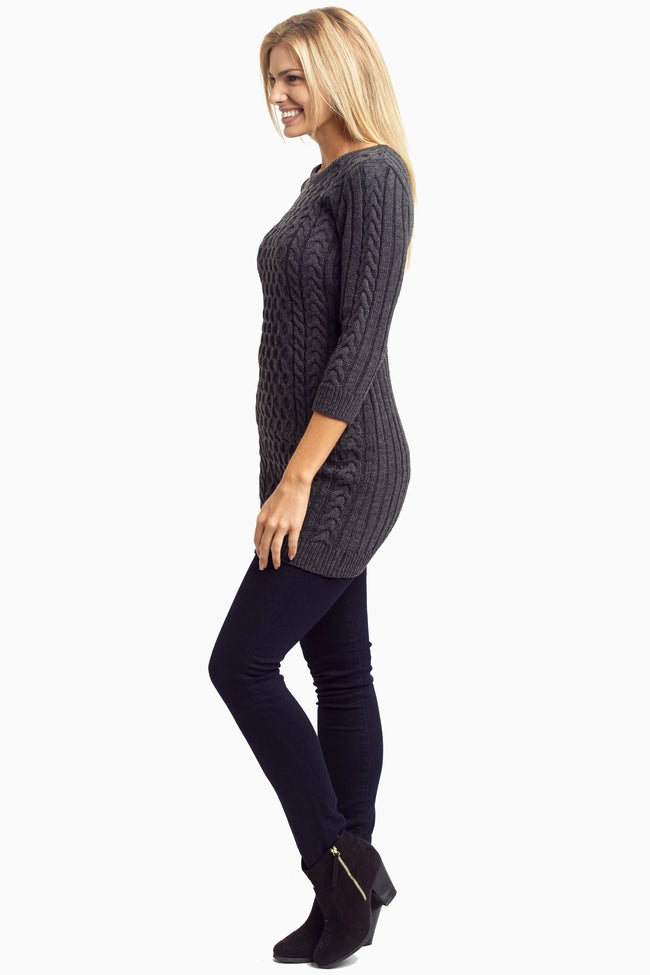 Charcoal Cable Knit Fitted Tunic