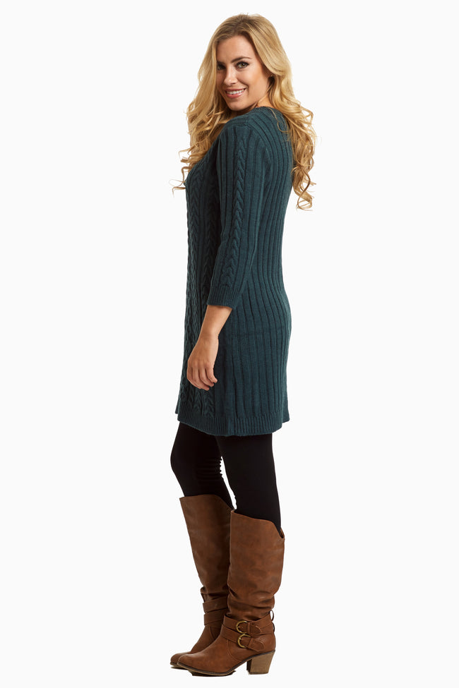 Navy Blue Knit Fitted Tunic