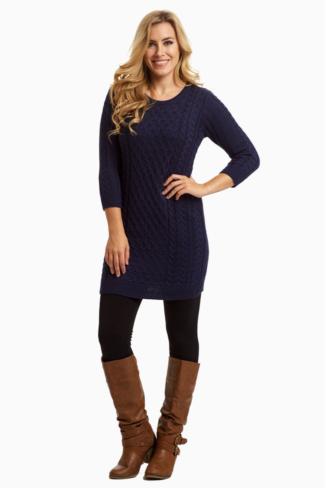 Navy Blue Knit Fitted Maternity Tunic