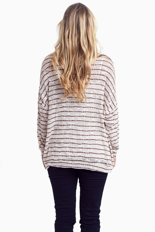 Burgundy Ivory Striped Knit Maternity Sweater Top