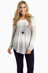 Grey Striped Long Sleeve Maternity Top