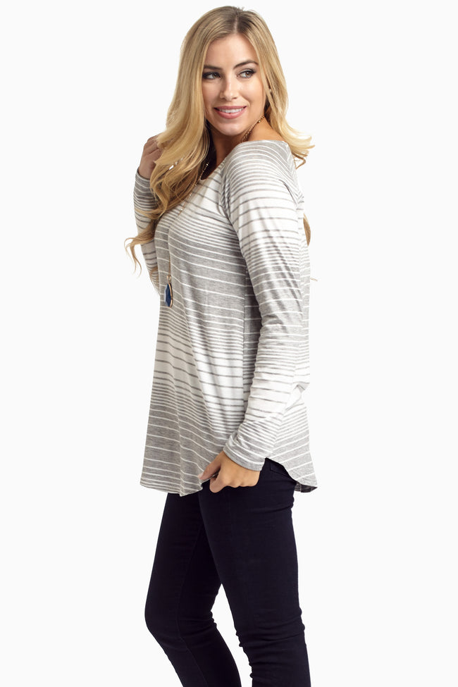 Grey Striped Long Sleeve Top